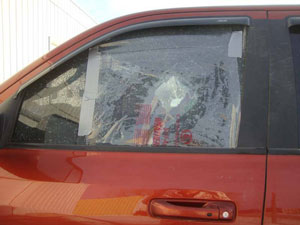 Broken window before